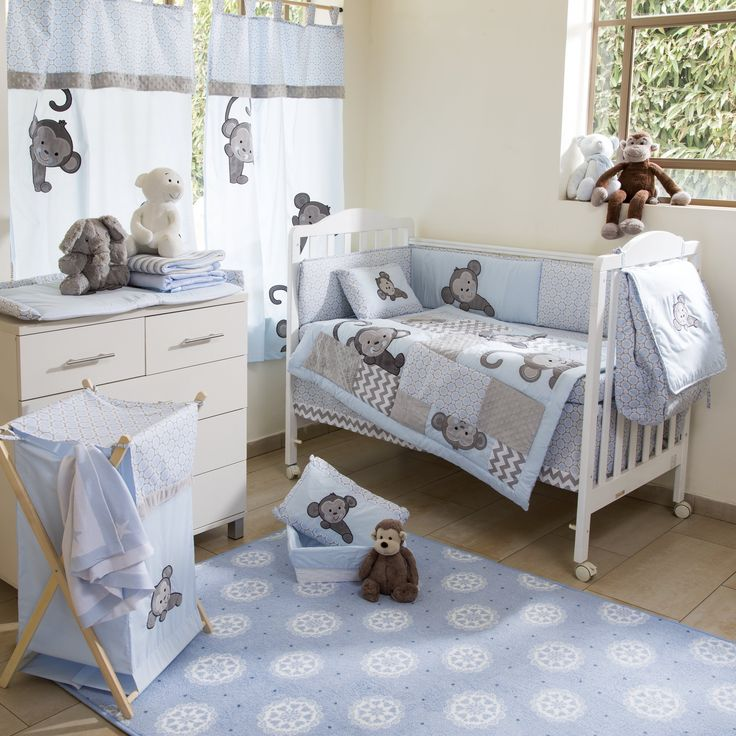 blue monkey crib bedding collection