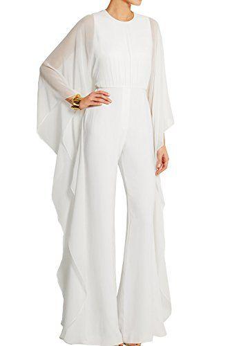 cc4558b9217a Yacun Tailleur Pantalon Femme Veste Combinaison Chic à manches longues en  mousseline de soie pour White M