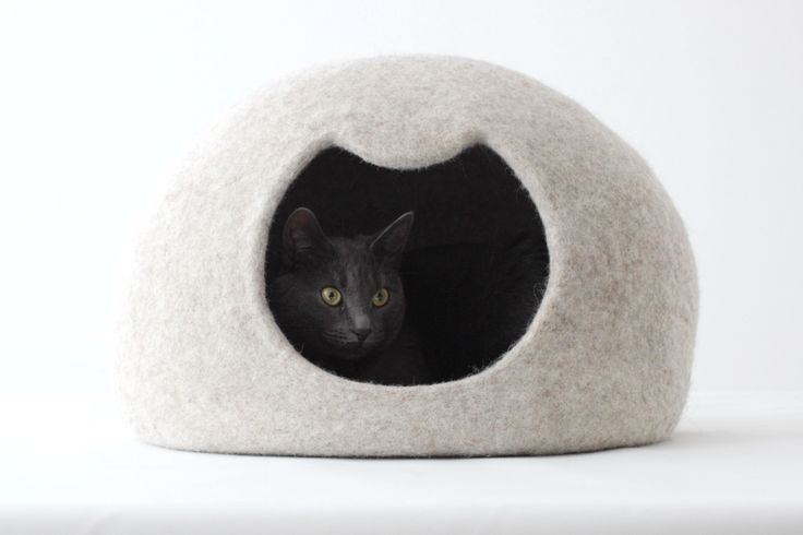 Cat bed - cat cave - cat house - wool cat bed - natural beige felted cat bed - made to order by AgnesFelt on Etsy