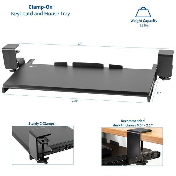Mount Kb05e Black Clamp On Keyboard Tray Working Area Desk Tray Clamp