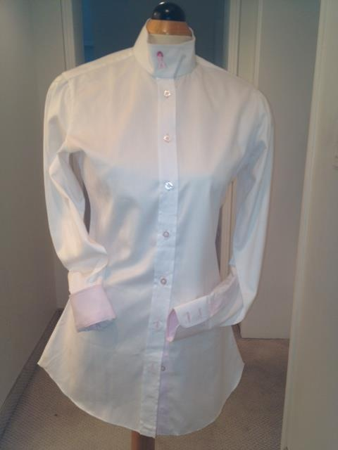 """Shirt for the Cure"" - High quality taylored show shirt. Snap Collar, Detailing around the collar and cuff. $150.00 - For ordering email Rhonda@hay-ward.com"