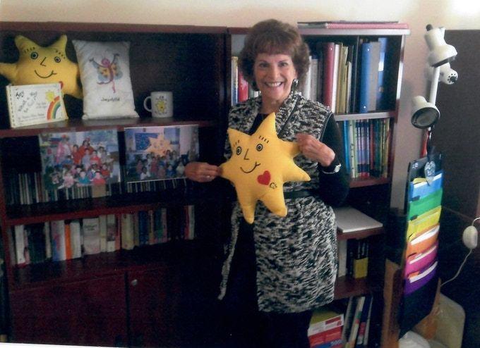 Karen with CJ memorabilia