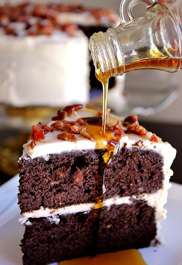 Dark Chocolate Maple Bacon Cake Recipe #SparklySavings #Shop #cbias