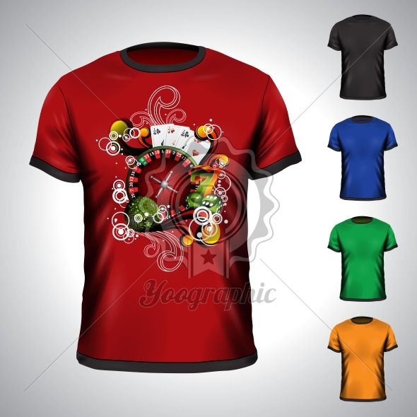 Vector t-shirt set on a casino holiday theme with roulette wheel. EPS 10 illustration. - Royalty Free Vector Illustration