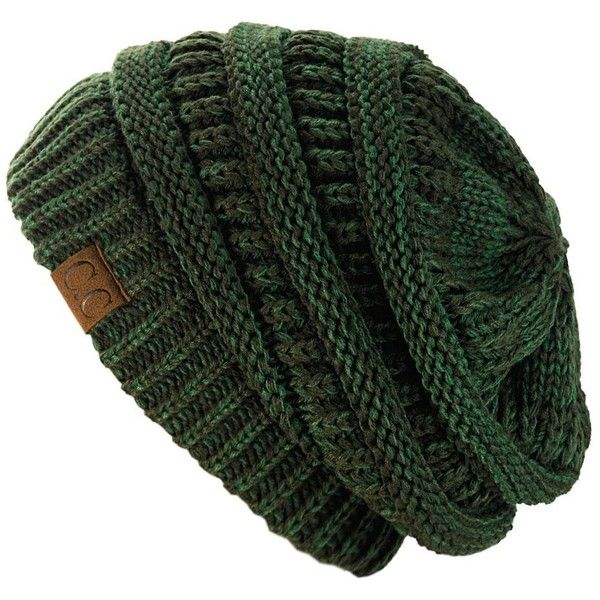 NYfashion101 Exclusive Unisex Two Tone Warm Cable Knit Thick Slouch... (49 BRL) ❤ liked on Polyvore featuring accessories, hats, olive green beanie, slouch beanie, saggy beanie, olive green hat and slouch cap