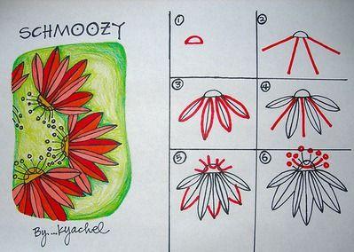 zentangle patterns free | Schmoozy Flower by K Yackel; art - doodles tangle instructions