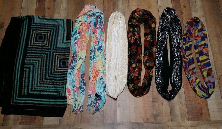 Scarf Lot X 6 Infinity and extra long Womens Floral Sequins Black white Scarves #Infinity #Scarf