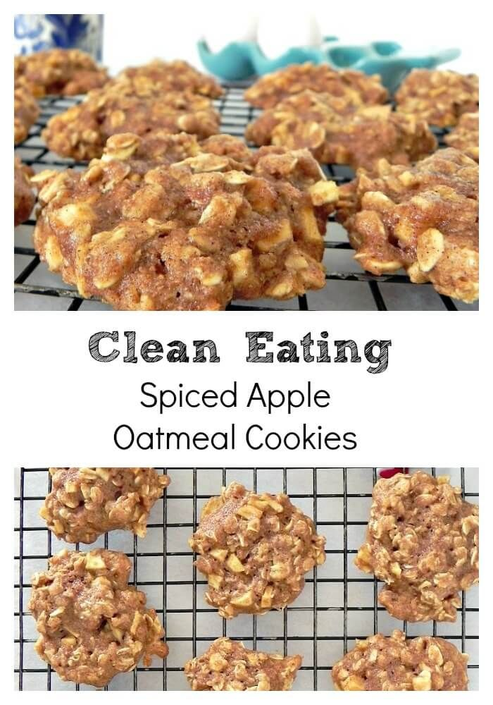 Clean Eating Spiced Apple Oatmeal Cookies. Easy, healthy, clean eating cookies.