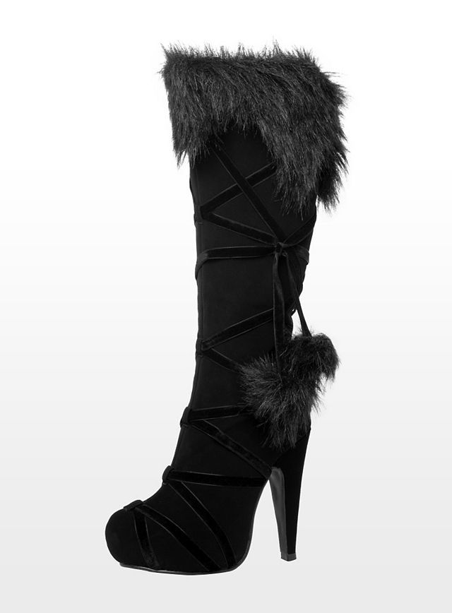 Warrior high heel boots with faux fur