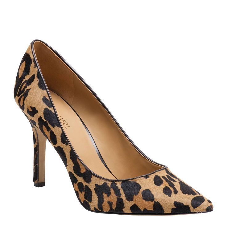 Martina is the classic pointy toe pump perfect for a day in the office or a stylish night of dinner and dancing. Printed cow hide upper, 8.5cm heel height in Leopard print from Nine West
