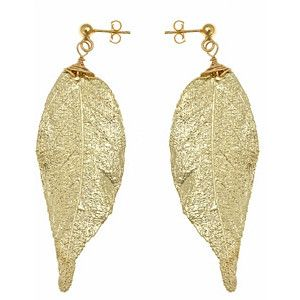 Nugaard Designs Gold Jequitiba Leaf Earrings - Max and Chloe