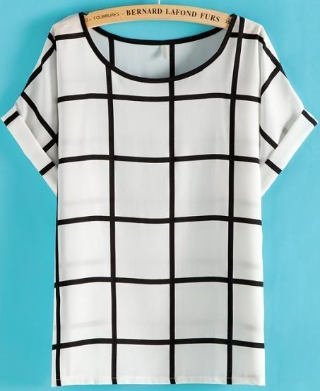 White Black Plaid Short Sleeve Loose T-Shirt