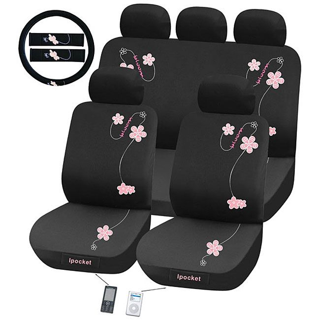 Give Your Car A Quick Makeover With This Floral Seat Cover Set Offering Feminine Motif Embroidered Flowers That Look Lovely