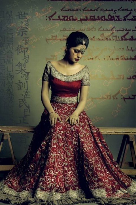 Bridal red and gold lehenga. Indian fashion.