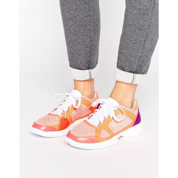Adidas Barricade Boost Trainers (183 CAD) ❤ liked on Polyvore featuring shoes, sneakers, pink, breathable shoes, caged shoes, cushioned shoes, breathable sneakers and laced sneakers