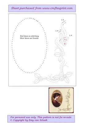 ED037 Floral border on Craftsuprint designed by Emy van Schaik - Stitching with beads - Now available for download!