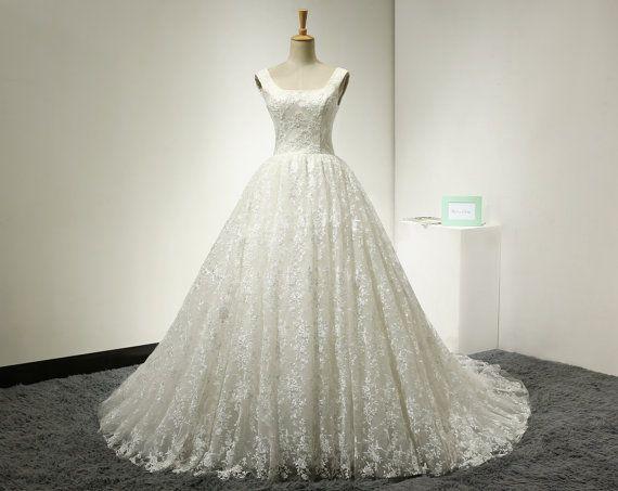 Bal jurk Lace bruiloft jurk vierkante hals Backless trouwjurk V terug kapel trein Sexy Backless bruids jurk