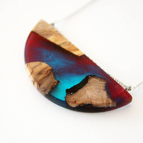Semicircle Pendant Multicolour Wood & Resin Necklace Resin
