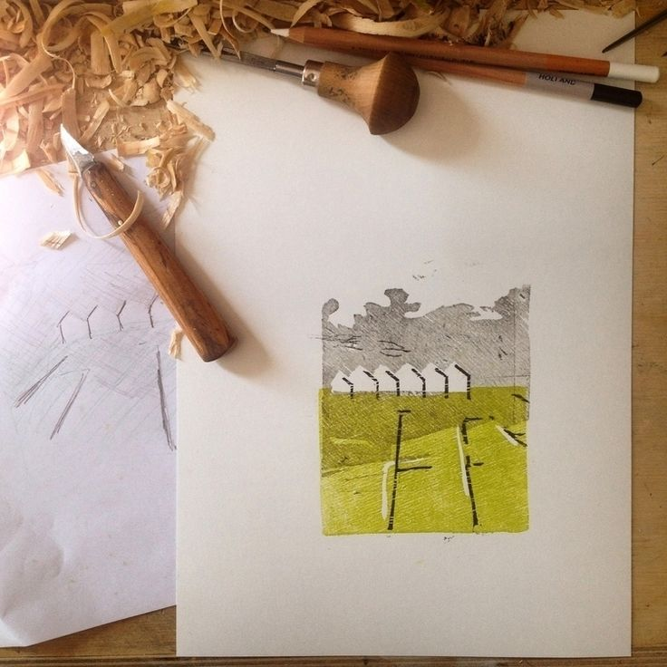 Good morning :) Evolutions on my work space, ending in this trial print of polder landscape and greenhouses - from @lotjem on Ello.