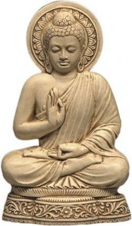 The Buddha Dispelling Fear; Stories from Buddhist mythology frequently refer to the Buddha's use of the dispelling fear pose to pacify the enemies who threatened him