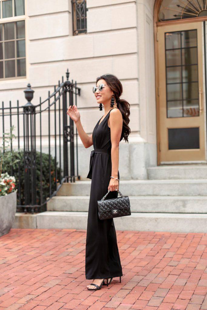 The black jumpsuit (in petite & regular) // Wedding guest outfit
