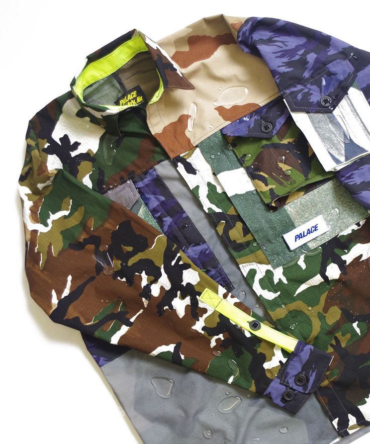 Mixed camo shirt for Palace. Tigerstipe, US Woodland, HV, DPM, Shard