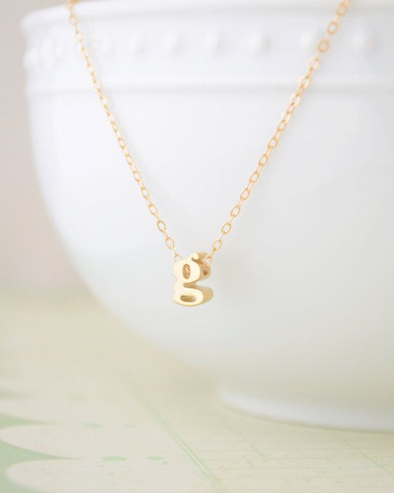 Lowercase gold initial necklace - 1001