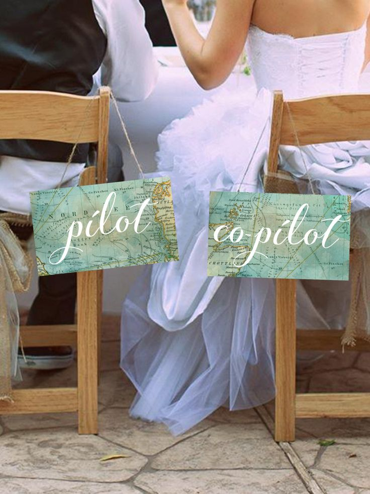 "Cute ""Pilot & Co-Pilot"" Printable Wedding Chair Signs, Set of 2, Travel Theme, Instant Download! by MintandMerlotPaperCo on Etsy"