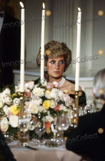November 9, 1985: Princess Diana at a State dinner given by President and Mrs Reagan at the White House, Washington, D.C. Alpha-Globe Photos, Inc.