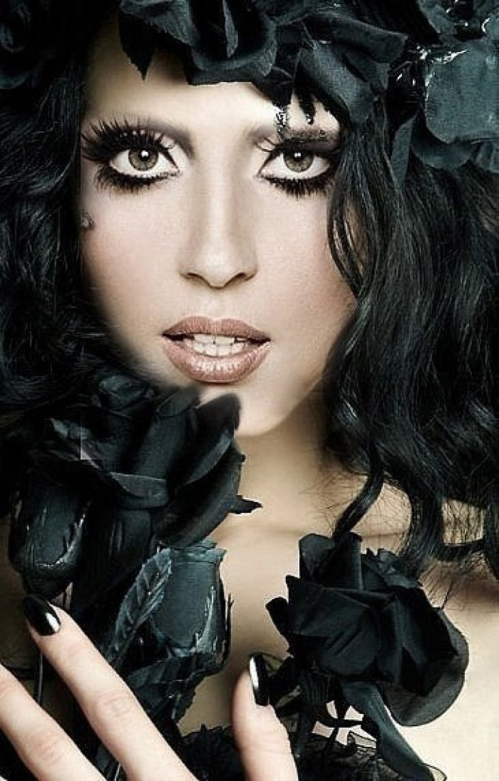 Lady Gaga with Black Hair Color