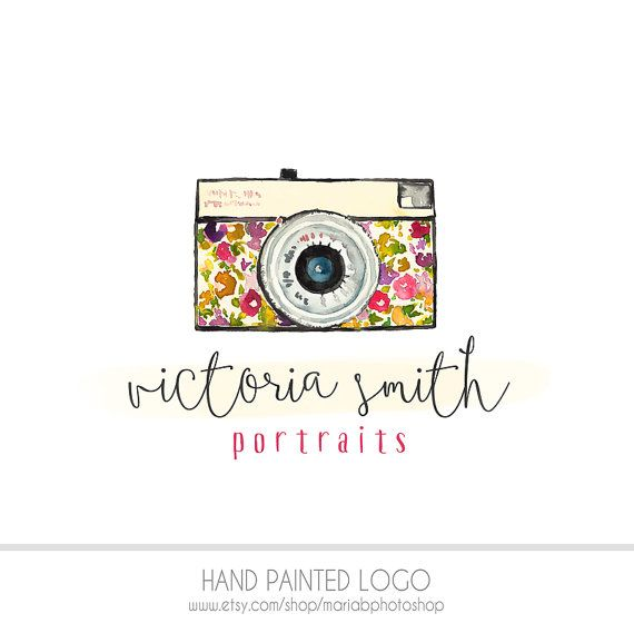 Watercolor Logo -  Watermark Business Logo - Drawn, Artistic, Vintage Camera, floral, fun, delicate, vintage flowers, Camera, Photography