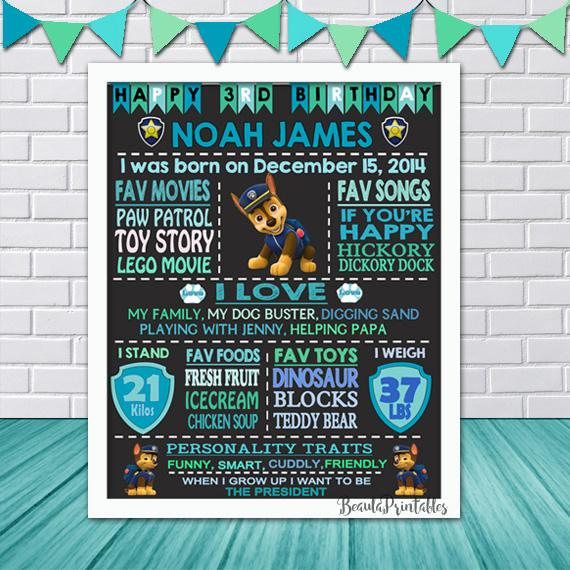 Blackboard Paw Patrol Print for Boys  Happy Birthday Poster