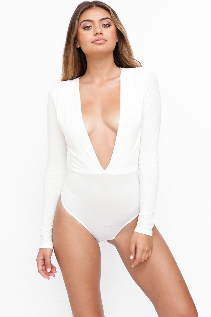 Shop Fashion Therapy. Long Sleeve V-Neck Bodysuit In white, white bodysuit, white long sleeve bodysuit