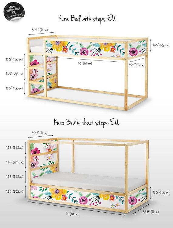 Decals for Kura Bed, Ikea, Vibrant floral Sticker Set, PACK OF 5, Floral, Reusable, Garden, Peel and Stick, Removable, Kids room decor #18K