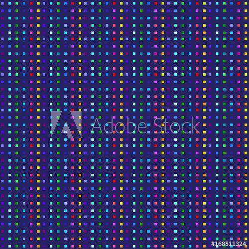 Colorful Pixel Pattern. Square Mosaic Tile, Dynamic Color Seamless Pattern.  Modern Music Geometric