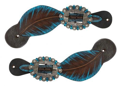 "Showman ® Hand painted feather spur straps. These spur straps feature hand painted feather design and an engraved brushed nickel with crystal rhinestones. Adjusts 9.5"" -7"". Matches items #30740"