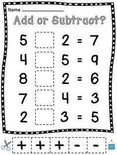 Add or Subtract? Cut and Pastes where students choose an operation (plus or minus symbol) to make each problem correct