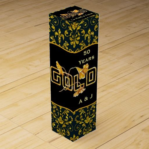Golden Calla Lily 50th Wedding Anniversary Custom Wine Bottle Boxes