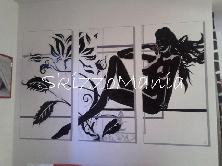 finto tris di quadri realizzato su parete a mano libera