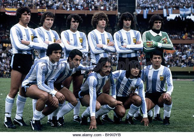 World Cup Final Holland v Argentina The Argentine team pose for pictures before the start of the world cup final. June 1978 - Stock Image