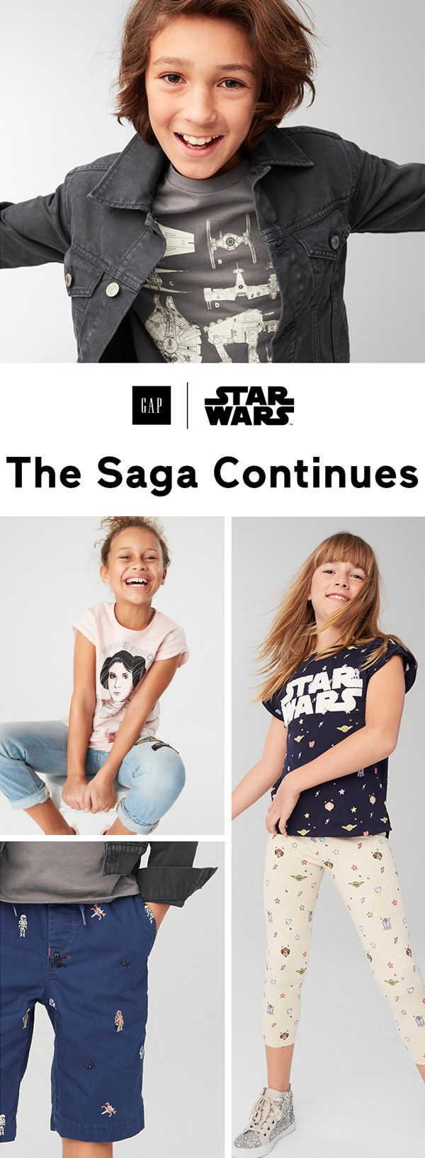 Celebrate the characters and stories that helped bring the epic saga to life with great graphic tees, embroidered shorts, printed leggings, and more. Shop the Gap x Star Wars looks at gap.com