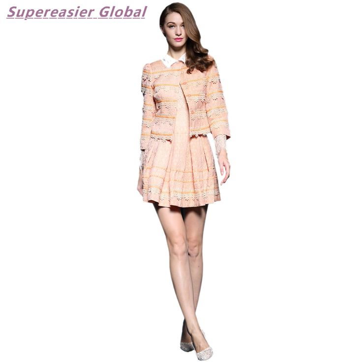 Pink Lace Office Lady Dresses Women'S Long Sleeve Shirt Collar Coat + Dress Suit