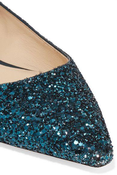 Jimmy Choo - Romy Dégradé Glittered Leather Point-toe Flats - Teal - IT36.5