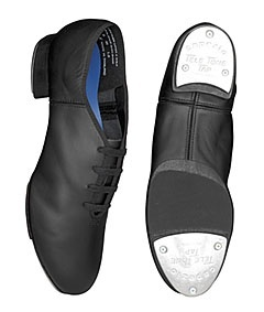 "Capezio CG06 Black Split Sole Tap Shoes. Made for dancers who want more flexibility in their shoe. The original Split Sole Tap shoe features Tele Tone taps that are attached with fibreboard. With a boxed toe for better toe stands, a solid leather 3/4"" heel and supportive counter, this shoe provides balance and stability. For added comfort, this shoe has shock absorbing poron arch/heel pads and a flexible suede insole. Tap Dance Shoes at www.dancinginthestreet.com"