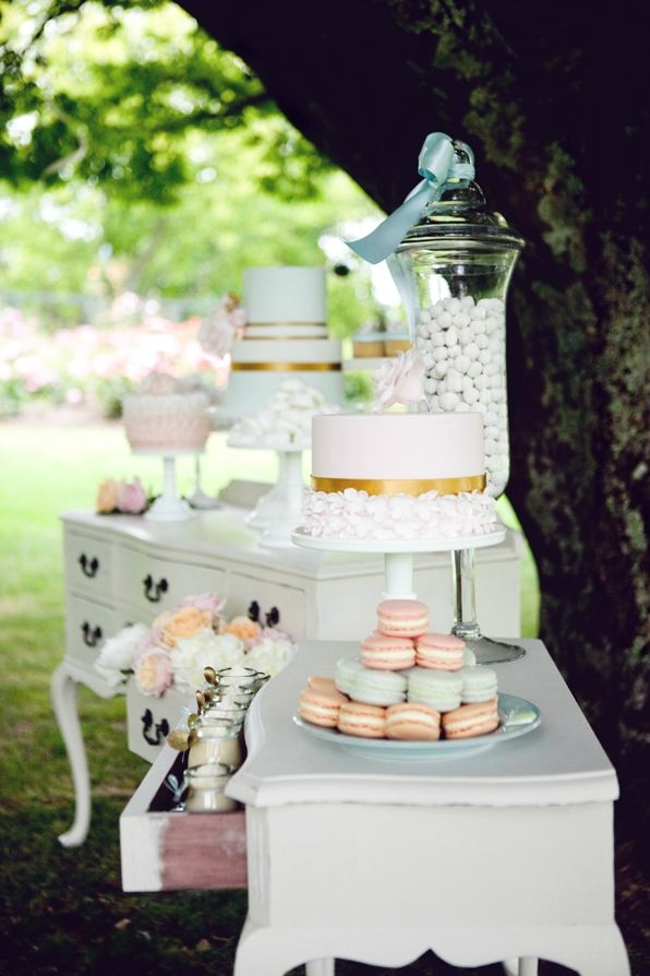 Outdoor garden party, or wedding reception; use vintage furniture as buffet tables for food or desserts. Upcycle, recycle, salvage, repurpose! For ideas and goods shop at Estate ReSale & ReDesign, Bonita Springs, FL