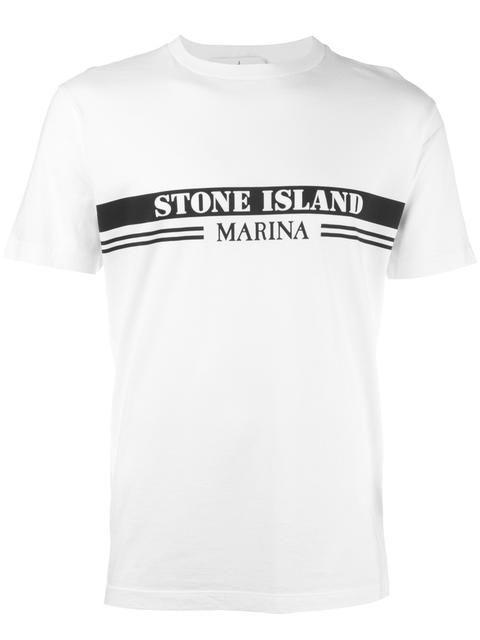 STONE ISLAND logo print T-shirt. #stoneisland #cloth #logo-print