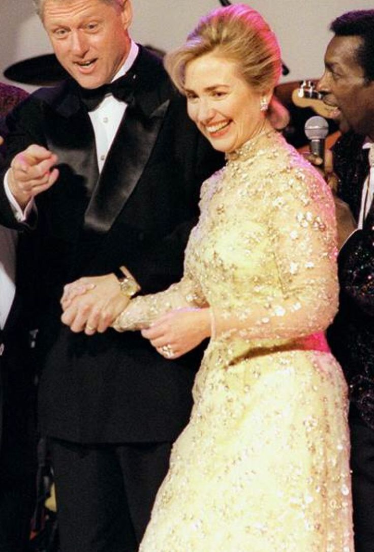 Bill Clinton's wife, Hilary Rodham Clinton, at the National Building Museum at the inaugural ball