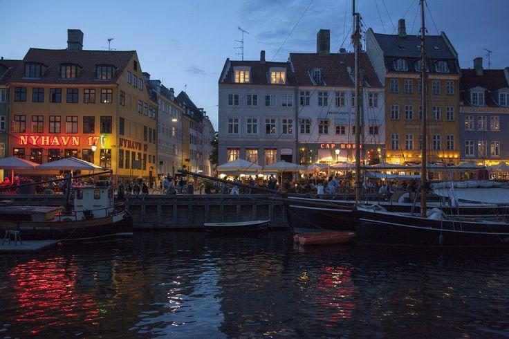 Enjoying some of the nightlife along the harbor in Copenhagen, Denmark