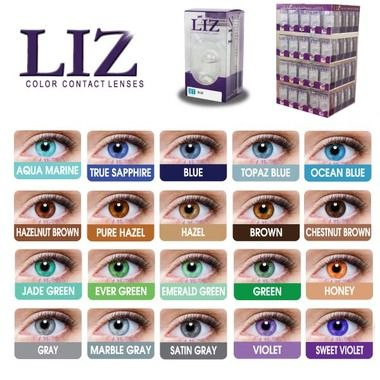 LIZ Eye Color Contact Lenses - 20 Colors AQUA MARINE, TRUE SAPPHIRE ,BLUE, TOPAZ BLUE, OCEAN BLUE, HAZELNUT BROWN,PURE HAZEL,HAZEL,BROWN,CHESTNUT BROWN, JADE GREEN, EVER GREEN, EMERALD GREEN, GREEN, HONEY, GRAY, MARBLE GRAY, SATIN GRAY,VIOLET, SWEET VIOLET