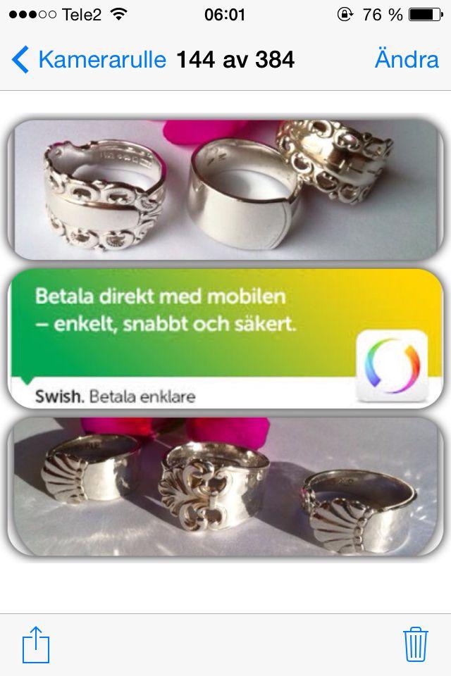 Återbruk!!! Gamla kaffeskedar ! Ringar i silver 395kr/st Nysilver 200kr/st Reglerbara  storlekar